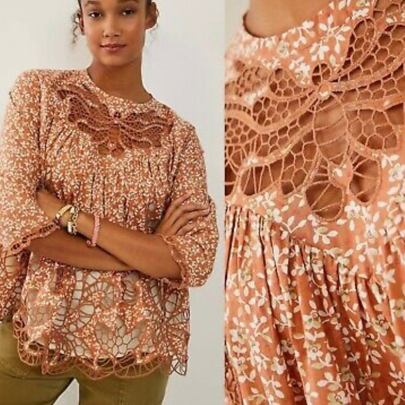 Anthropologie Tops - NWT blue tassel lace blouse anthro